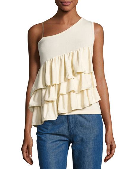 Ruffled One-Shoulder Top, Ivory