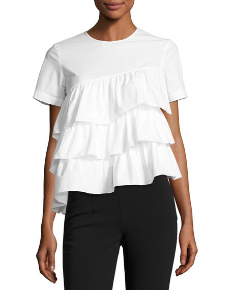 Short-Sleeve Tiered Ruffle Top, White