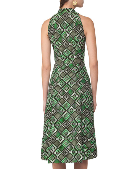 Sleeveless Geometric Jacquard Zip-Front Dress