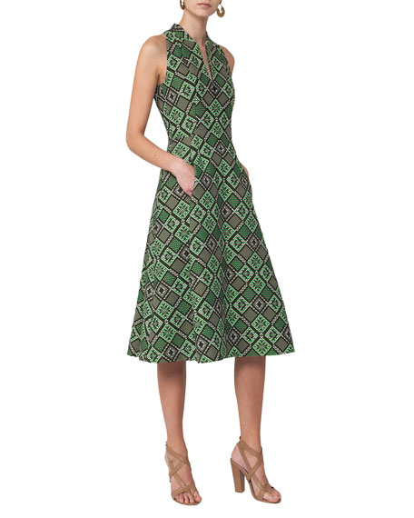 Akris punto Sleeveless Geometric Jacquard Zip-Front Dress