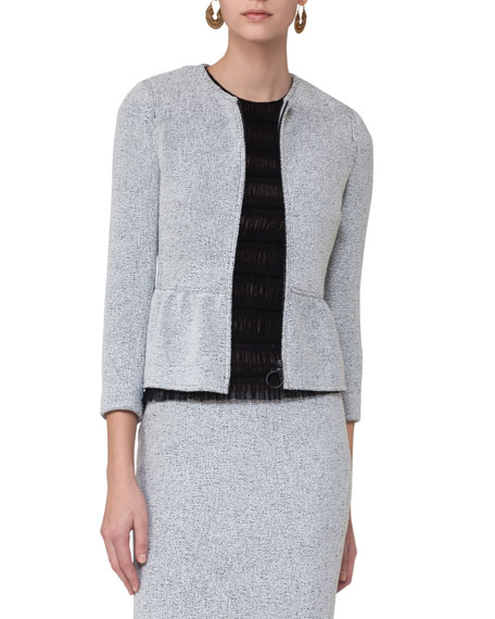 Knitted Tweed Zip-Front Jacket, Multi Pattern