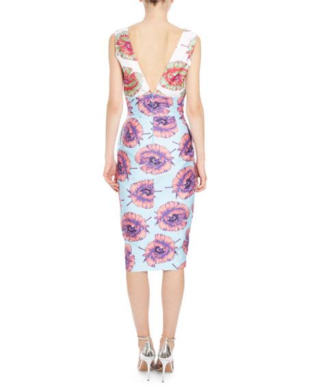 Elida Floral Sleeveless Sheath Dress, Aquafish