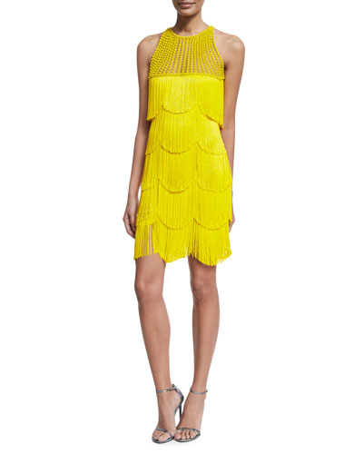 Beaded Fringe Sleeveless Cocktail Dress, Yellow