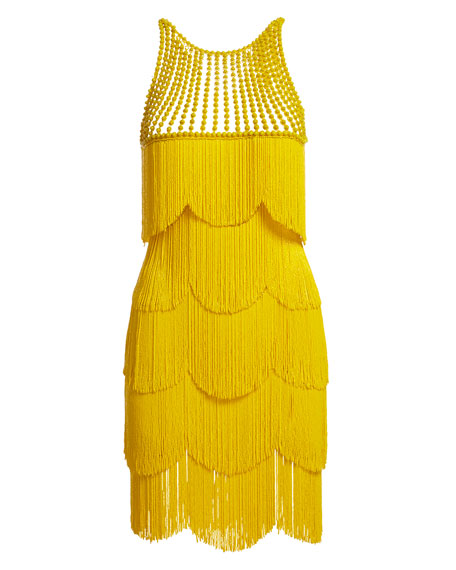 Beaded Fringe Sleeveless Cocktail Dress, Yellow