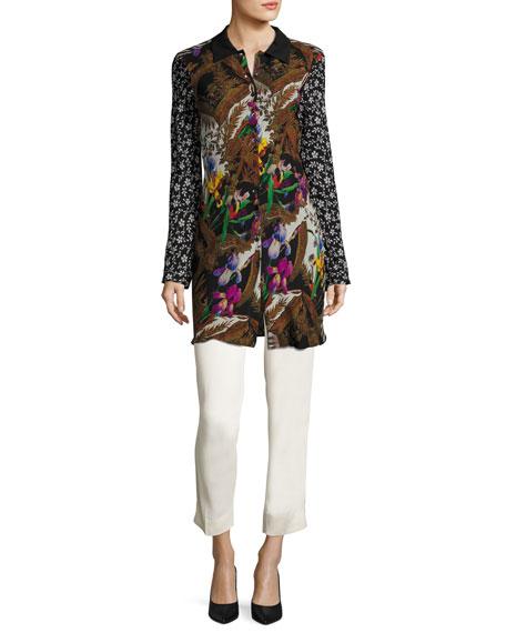 Floral Silk Shirt Coat, Black/Multi