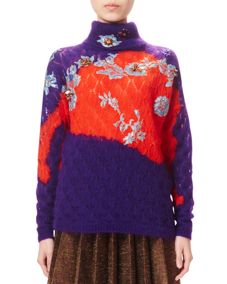 Bicolor Knit Turtleneck Sweater, Velvet Purple