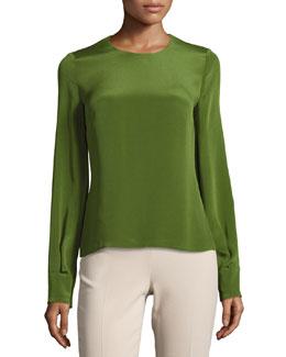 Jewel-Neck Long-Sleeve Blouse