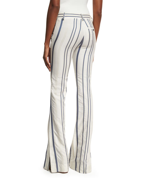 Striped Tie-Front Bell-Bottom Jeans, White/Blue
