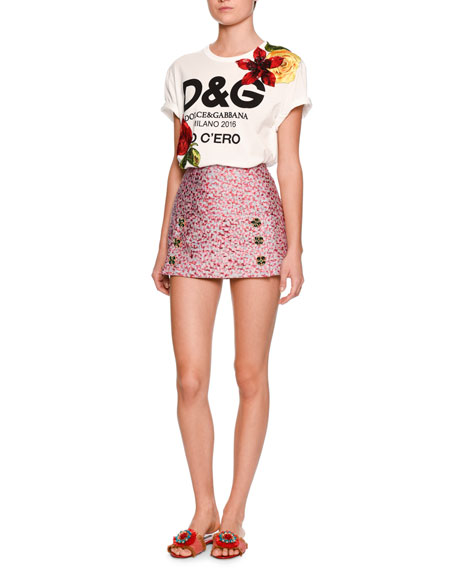 Leopard-Print Fil Coupe Mini Skirt, Pink/Brown
