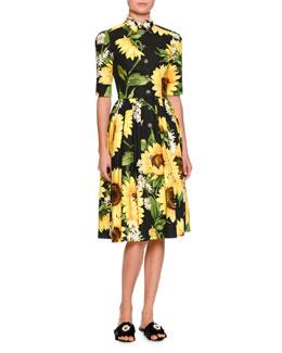 Half-Sleeve Sunflower-Print Shirtdress, Black/Yellow