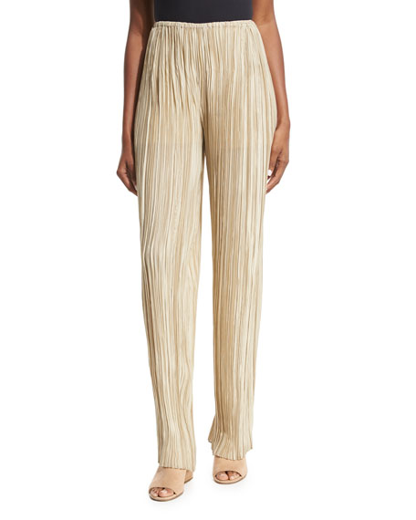Zani Pleated Silk Pants, Beige