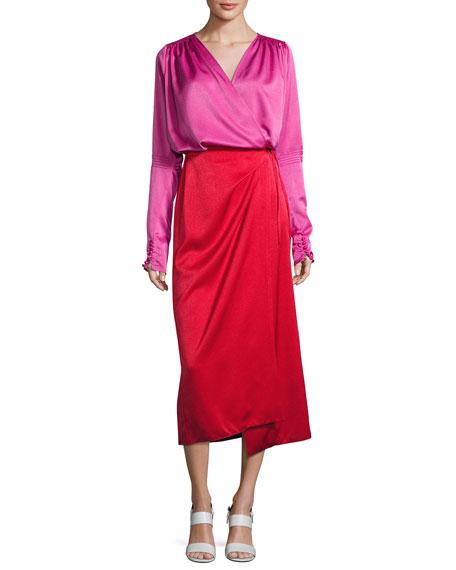 Attico Satin Bicolor Wrap Midi Dress, Red/Pink