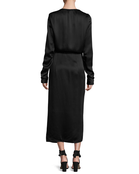 Lobster-Beaded Satin Midi Wrap Dress, Black