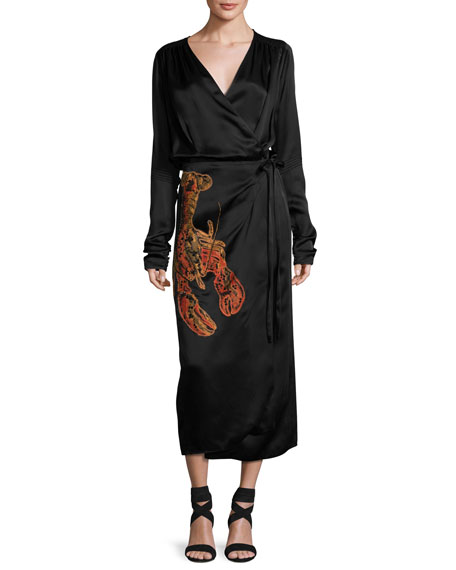 Attico Lobster Beaded Satin Midi Wrap Dress Black In Nero