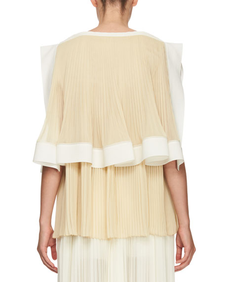 Pleated Georgette Tiered Blouse