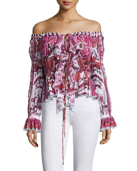 Off-Shoulder Rose-Print Lace-Up Top, Pink