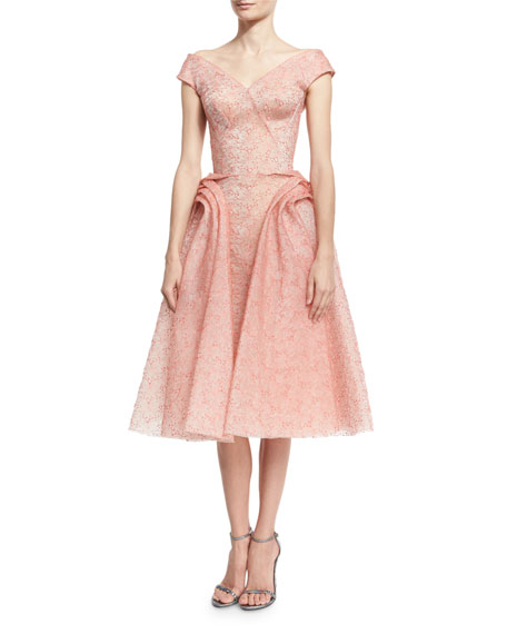 Off-the-Shoulder Floral-Embroidered Organza Cocktail Dress, Coral
