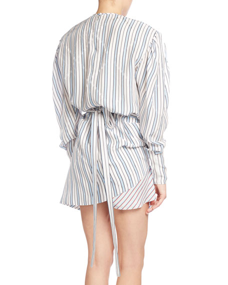 Ruched College Stripe Jacquard Dress, White Pattern