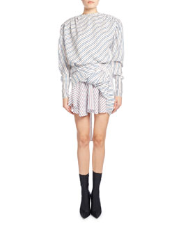 Ruched College Stripe Jacquard Dress, White Pattern