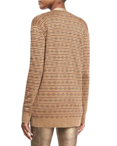 Metallic Deco Knit Cardigan, Brown