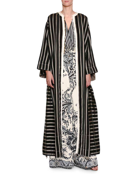 Long Striped Button-Front Coat, Black