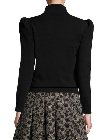 Mock-Neck Sweater with Exaggerated Shoulders, Black