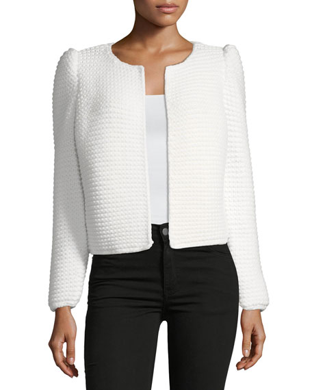 Heavy-Gauge Ribbed Open-Front Cardigan