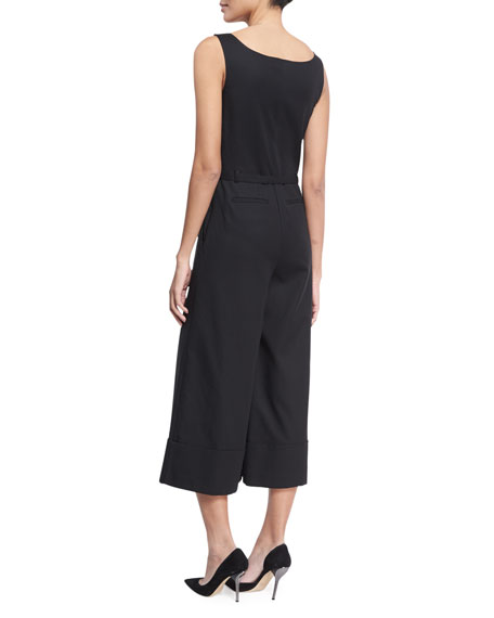 Sleeveless Belted V-Neck Culotte Jumpsuit, Black