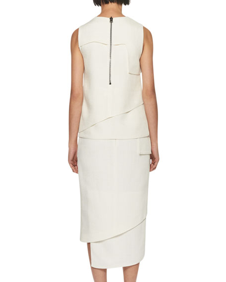Tiered Heavy Basketweave Top, White