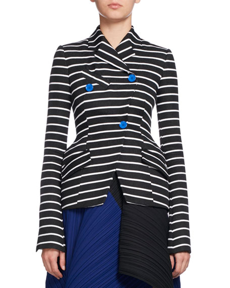 Striped Asymmetric Suiting Jacket, Black/White