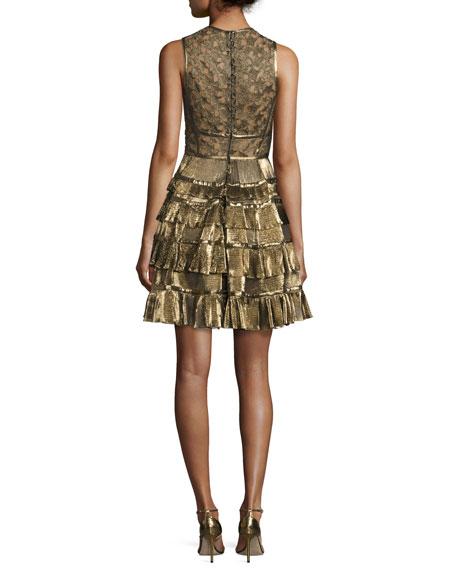 Sleeveless Metallic Star-Lace Ruffled Dress, Gold