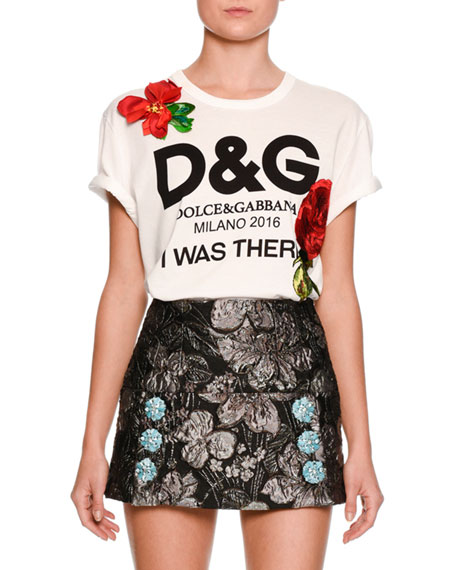 Dolce gabbana i was there logo print t shirt white for Dolce gabbana t shirt women
