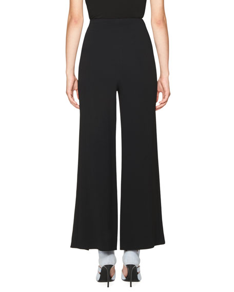 Caldwell Plaid Crepe Wide-Leg Trousers, Black