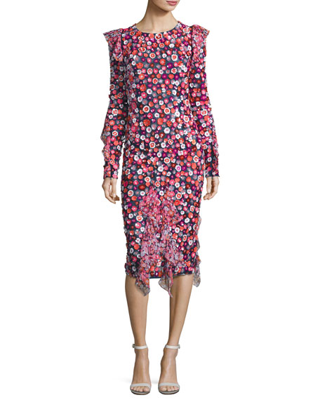 Floral-Embroidered Bias-Ruffle Dress, Multi