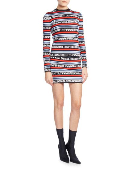 Logo-Stripe Knit Miniskirt, Noir