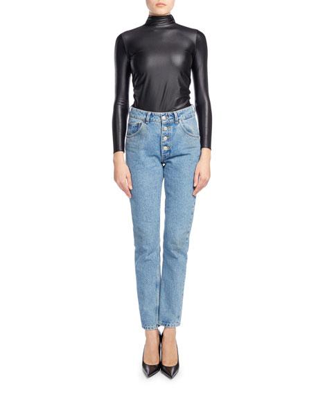 High-Waist Button-Fly Denim Cigarette Jeans, Blue
