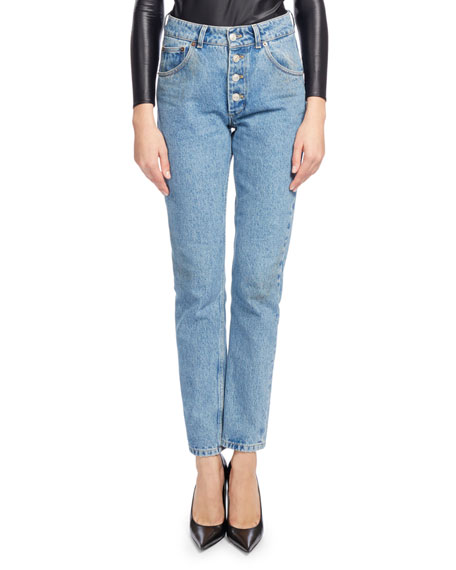 Balenciaga High-Waist Button-Fly Denim Cigarette Jeans, Blue