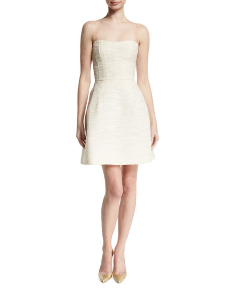 Strapless Boucle Fit-&-Flare Dress, Nude