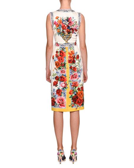 Floral Vase Sleeveless Sheath Dress, White