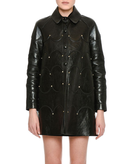 Scalloped Rockstud Leather Coat, Black