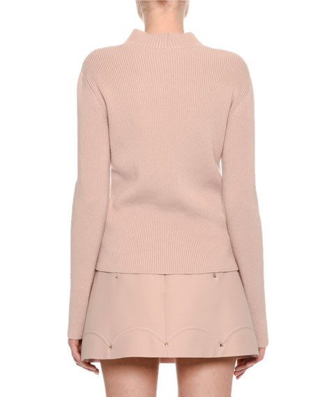 Tricolor Ribbed Virgin Wool Sweater, Pink