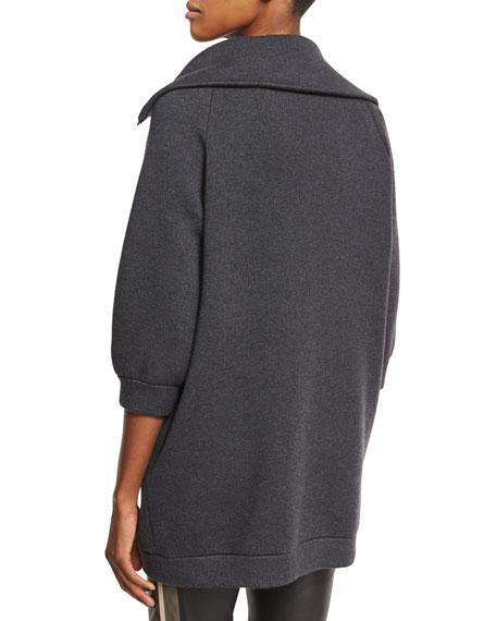 Double-Face Cashmere Car Coat, Onyx