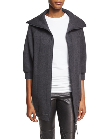 Double-Face Cashmere Car Coat, Onyx