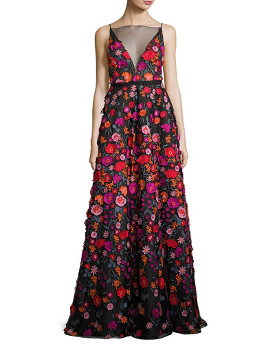 Floral-Embroidered Illusion Ball Gown, Black Pattern