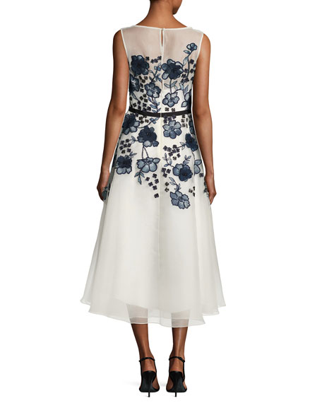 Sleeveless Floral-Embroidered Midi Dress, White/Blue