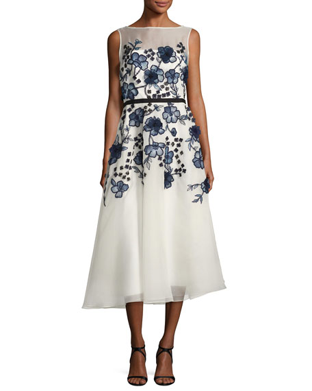 Sleeveless Floral-Embroidered Midi Dress, White/Blue