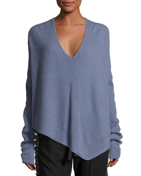 Derek Lam Asymmetric Ribbed Cashmere-Blend Sweater