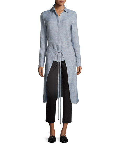 Mélange High-Low Apron Wrap Shirt, Sky