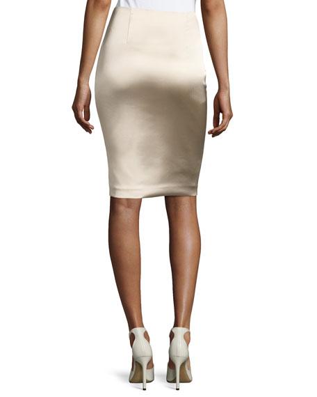 Brenner Satin Pencil Skirt