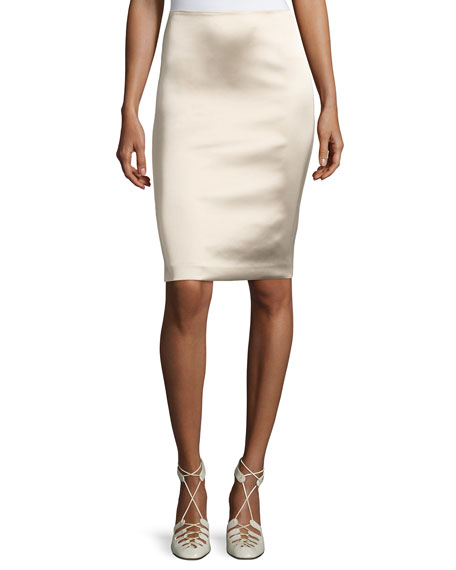 Brenner Satin Pencil Skirt